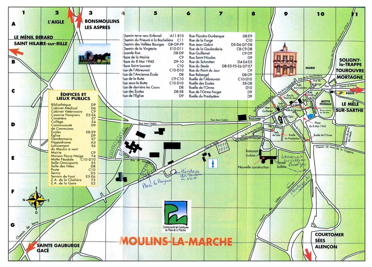 Plan des rues de Moulins la Marche